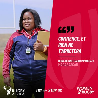 Madagascar's Donatienne Rasoampamonjy heads for try as she ramps up Rugby Africa Unstoppable run